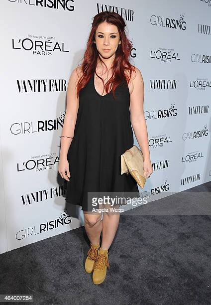 Actress Jillian Rose Reed attends VANITY FAIR and L'Oreal Paris DJ Night hosted by Freida Pinto to benefit Girl Rising at 1OAK on February 20 2015 in...