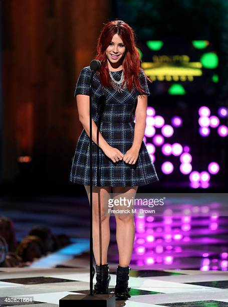 Actress Jillian Rose Reed speaks onstage at the 2014 Young Hollywood Awards brought to you by Samsung Galaxy at The Wiltern on July 27 2014 in Los...