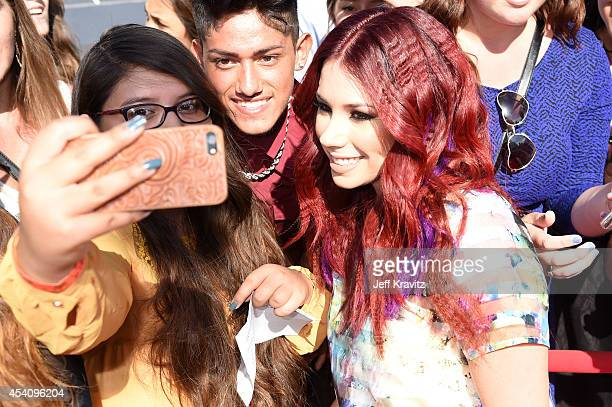 Actress Jillian Rose Reed takes a selfie at the 2014 MTV Video Music Awards at The Forum on August 24 2014 in Inglewood California
