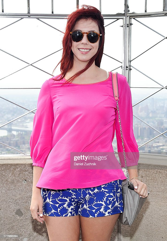 Actress <a gi-track='captionPersonalityLinkClicked' href=/galleries/search?phrase=Jillian+Rose+Reed&family=editorial&specificpeople=7430633 ng-click='$event.stopPropagation()'>Jillian Rose Reed</a> visits The Empire State Building on August 26, 2013 in New York City.