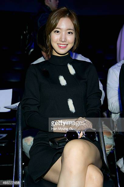Actress Jin SeYeon poses for photographs at the 'J Koo' show as part of HERA Seoul Fashion Week S/S 2016 at DDP on October 18 2015 in Seoul South...