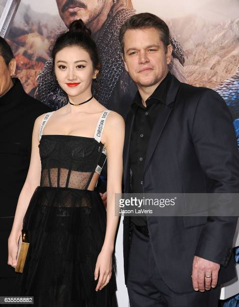 Actress Jing Tian and actor Matt Damon attend the premiere of 'The Great Wall' at TCL Chinese Theatre IMAX on February 15 2017 in Hollywood California