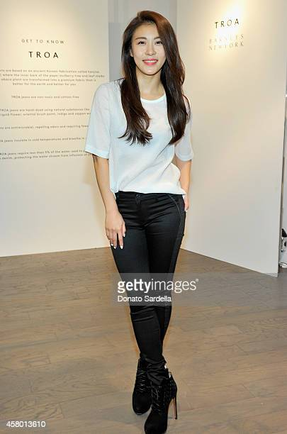 Actress JiWon Ha attends the TROA denim event at Barneys in Los Angeles on October 28 2014 in Los Angeles California