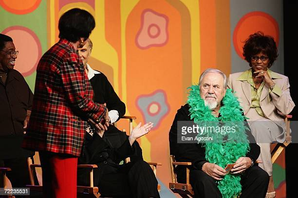 Actress Jo Anne Worley producer George Schlatter and Chelsea Brown attend the 'Laugh In' cast reunion at the Mohegan Sun 10th Anniversary celebration...