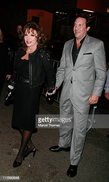 Actress Joan Collins and husband Percy Gibson sighting arriving at the New York Premiere of the movie 'Sleuth' held at the Paris Theater on October...