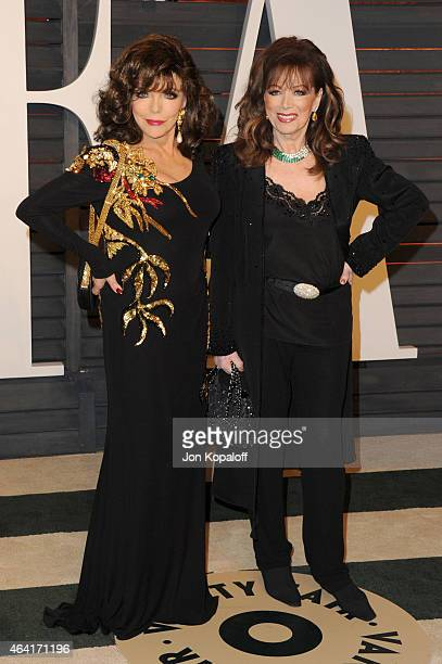 Actress Joan Collins and producer Jackie Collins attend the 2015 Vanity Fair Oscar Party hosted by Graydon Carter at Wallis Annenberg Center for the...