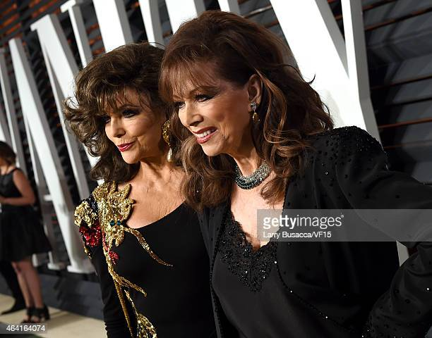 Actress Joan Collins and writer Jackie Collins attend the 2015 Vanity Fair Oscar Party hosted by Graydon Carter at the Wallis Annenberg Center for...