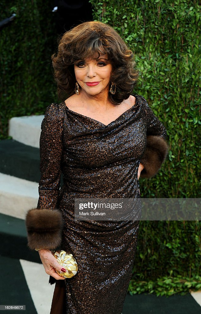 Actress Joan Collins arrives at the 2013 Vanity Fair Oscar Party at Sunset Tower on February 24, 2013 in West Hollywood, California.