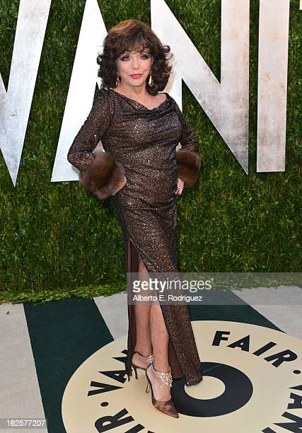 Actress Joan Collins arrives at the 2013 Vanity Fair Oscar Party hosted by Graydon Carter at Sunset Tower on February 24 2013 in West Hollywood...