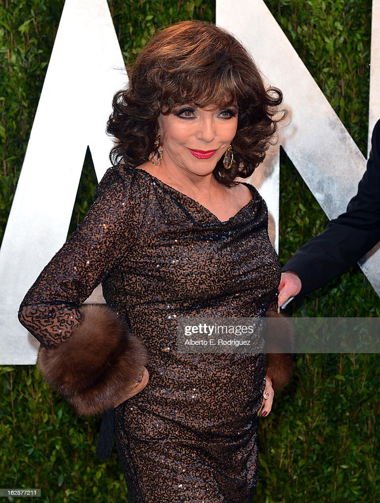 Actress Joan Collins arrives at the 2013 Vanity Fair Oscar Party hosted by Graydon Carter at Sunset Tower on February 24, 2013 in West Hollywood, California.