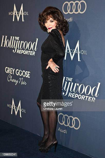 Actress Joan Collins arrives at The Hollywood Reporter's 'Nominees' Night 2012' A Celebration of the 84th Annual Academy Awards at the Getty House on...