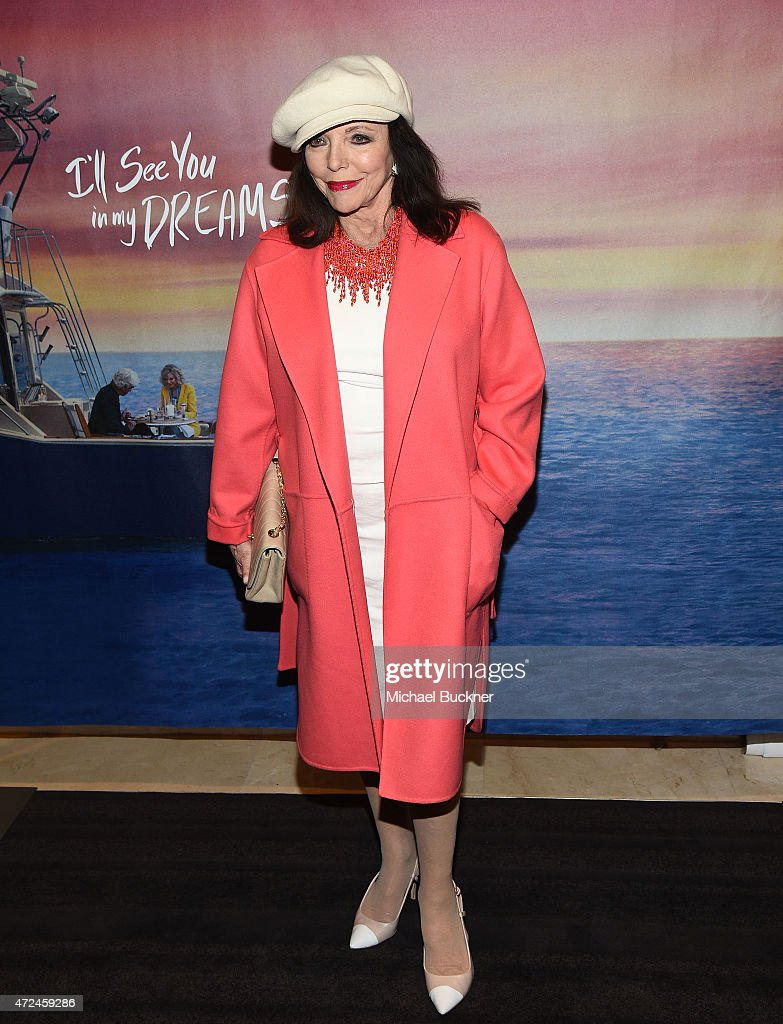 Actress Joan Collins arrives at the screening of 'I'll See You In My Dreams' at The London Screening Room on May 7 2015 in West Hollywood California