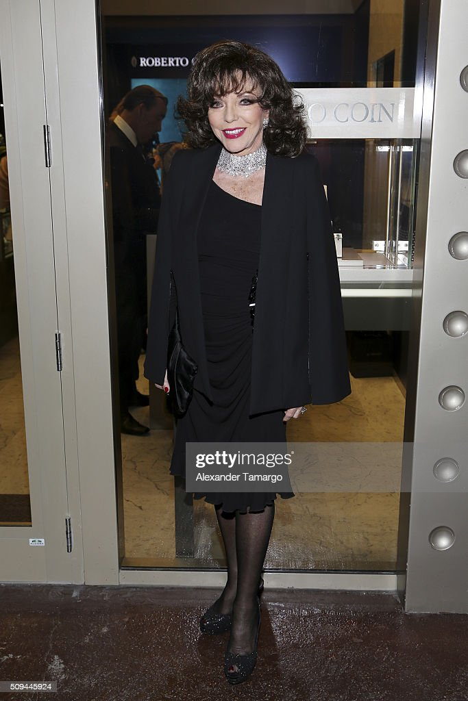 Actress <a gi-track='captionPersonalityLinkClicked' href=/galleries/search?phrase=Joan+Collins&family=editorial&specificpeople=109065 ng-click='$event.stopPropagation()'>Joan Collins</a> attends DuJour's Jason Binn, Roberto Coin and Peter Webster Celebrate the Grand Opening of the Roberto Coin Flagship Store in Miami on February 10, 2016 in Miami, Florida.