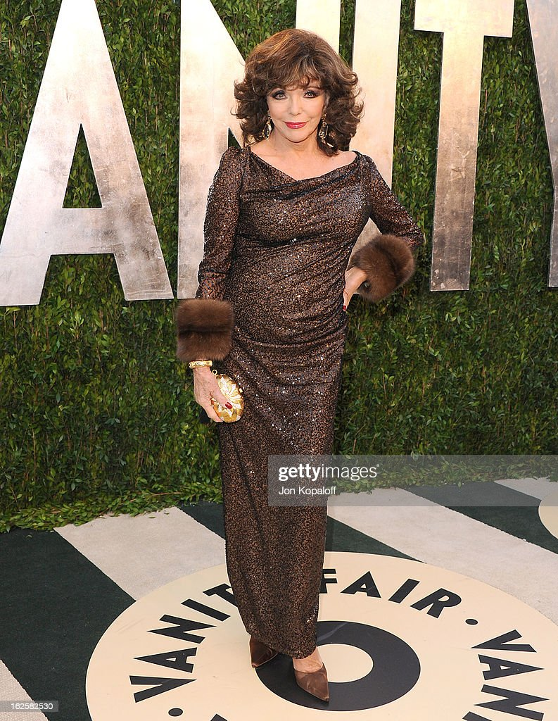 Actress Joan Collins attends the 2013 Vanity Fair Oscar party at Sunset Tower on February 24, 2013 in West Hollywood, California.