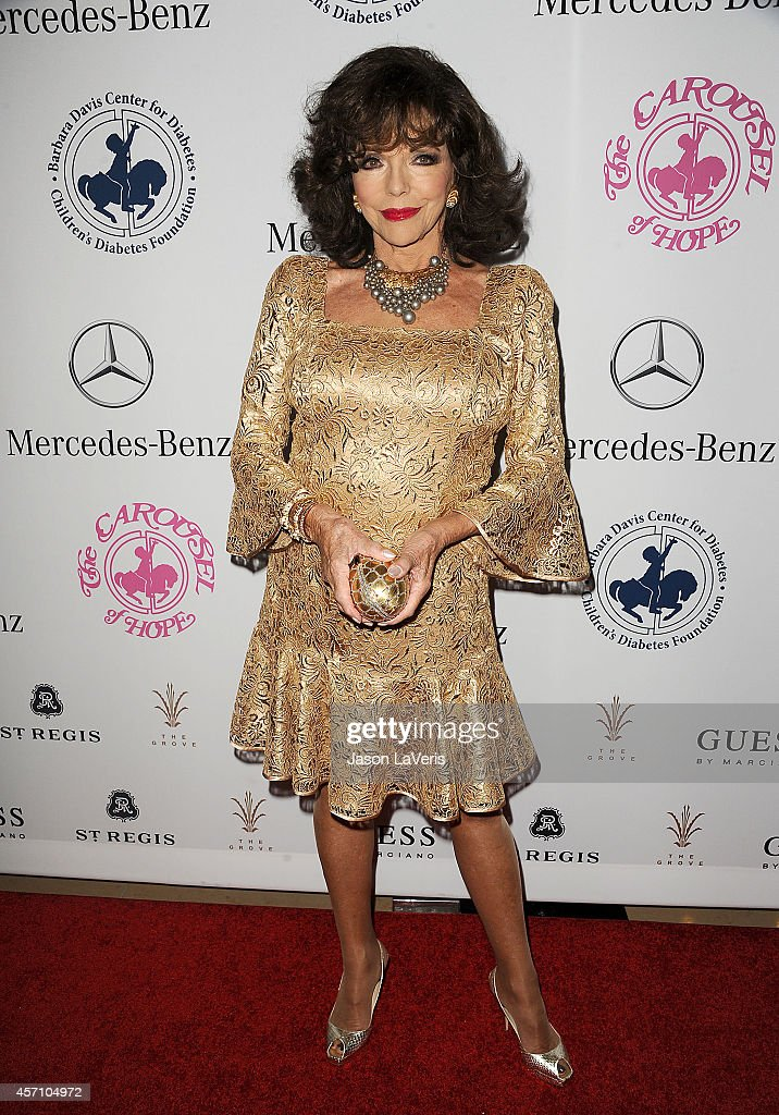 Actress <a gi-track='captionPersonalityLinkClicked' href=/galleries/search?phrase=Joan+Collins&family=editorial&specificpeople=109065 ng-click='$event.stopPropagation()'>Joan Collins</a> attends the 2014 Carousel of Hope Ball at The Beverly Hilton Hotel on October 11, 2014 in Beverly Hills, California.