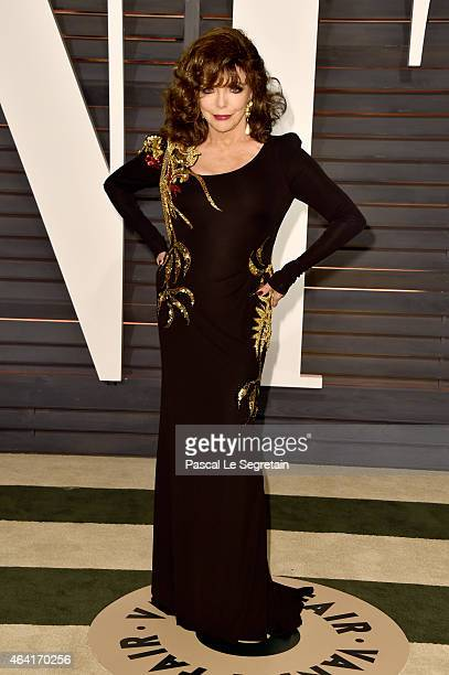 Actress Joan Collins attends the 2015 Vanity Fair Oscar Party hosted by Graydon Carter at Wallis Annenberg Center for the Performing Arts on February...