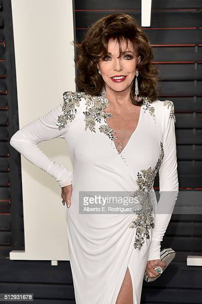 Actress Joan Collins attends the 2016 Vanity Fair Oscar Party hosted By Graydon Carter at Wallis Annenberg Center for the Performing Arts on February...
