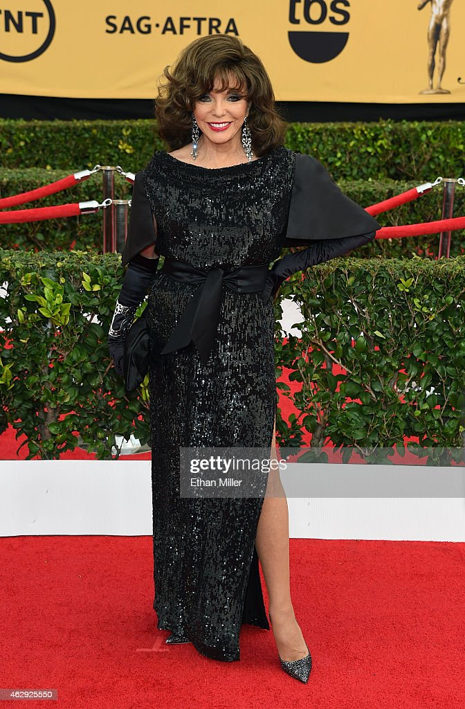 Actress Joan Collins attends the 21st Annual Screen Actors Guild Awards at The Shrine Auditorium on January 25, 2015 in Los Angeles, California.