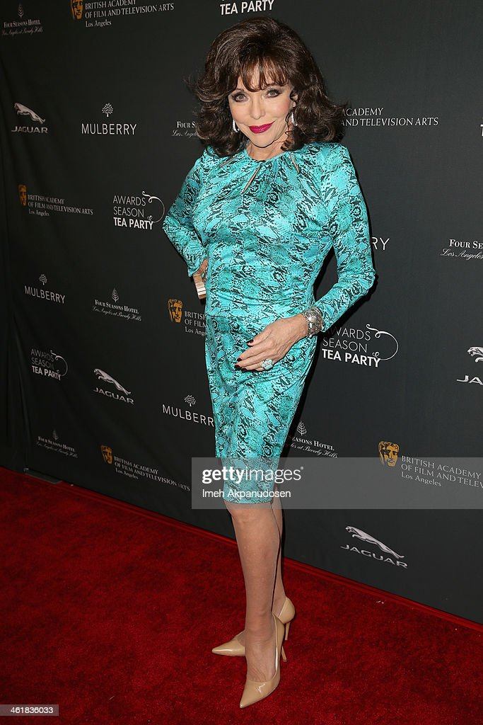 Actress <a gi-track='captionPersonalityLinkClicked' href=/galleries/search?phrase=Joan+Collins&family=editorial&specificpeople=109065 ng-click='$event.stopPropagation()'>Joan Collins</a> attends the BAFTA LA 2014 Awards Season Tea Party at the Four Seasons Hotel Los Angeles at Beverly Hills on January 11, 2014 in Beverly Hills, California.