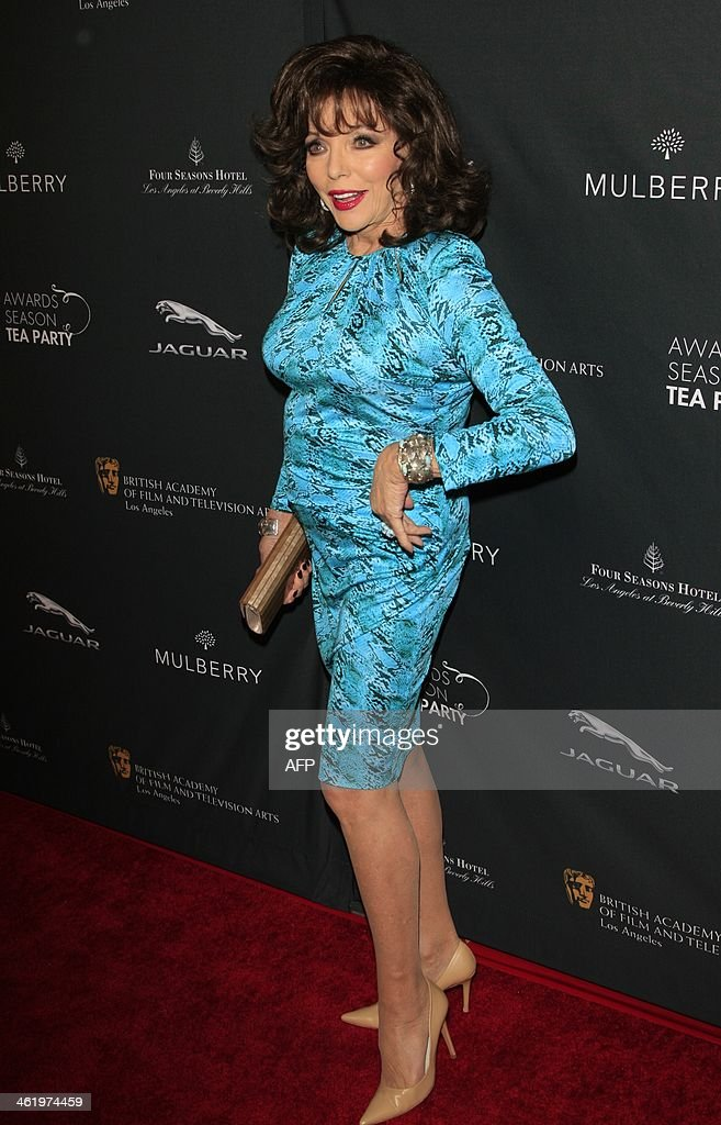 Actress Joan Collins attends the BAFTA LA 2014 awards season tea party at the Four Seasons Hotel in Beverly Hills, California, January 11, 2014. AFP PHOTO / Nina Prommer