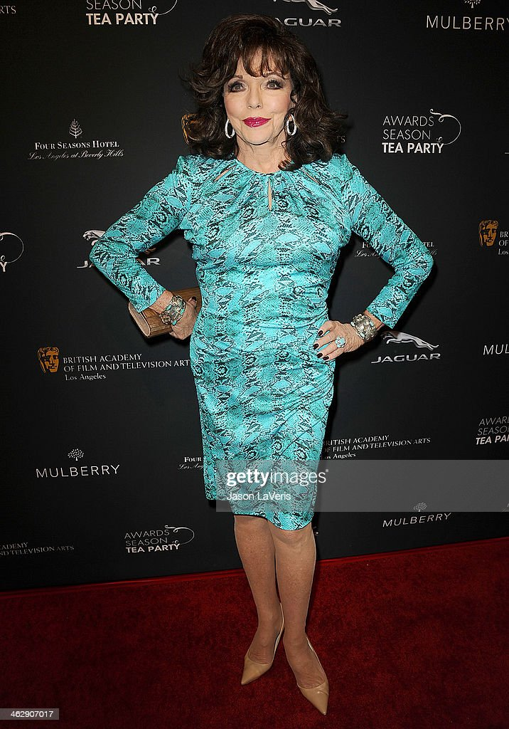Actress Joan Collins attends the BAFTA LA 2014 awards season tea party at Four Seasons Hotel Los Angeles at Beverly Hills on January 11, 2014 in Beverly Hills, California.