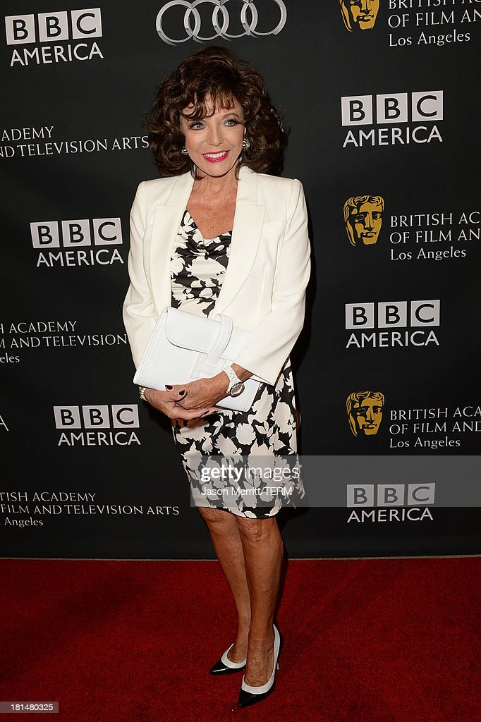 Actress <a gi-track='captionPersonalityLinkClicked' href=/galleries/search?phrase=Joan+Collins&family=editorial&specificpeople=109065 ng-click='$event.stopPropagation()'>Joan Collins</a> attends the BAFTA LA TV Tea 2013 presented by BBC America and Audi held at the SLS Hotel on September 21, 2013 in Beverly Hills, California.