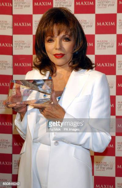 Actress Joan Collins winner of Maxim's Icon of the Award at the Maxim Women of the Year Awards 2002 at the Park Lane Hotel in London