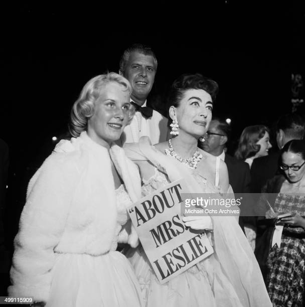 Actress Joan Crawford and her daughter Christina Crawford attend a premiere in Los Angeles California