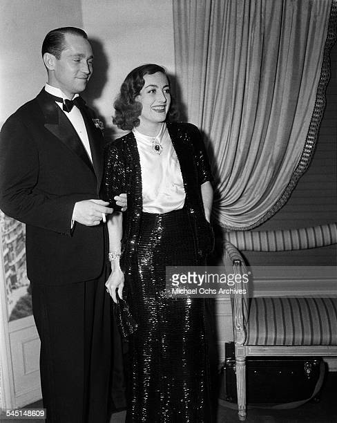Actress Joan Crawford and husband actor Franchot Tone attend an event in Los Angeles California
