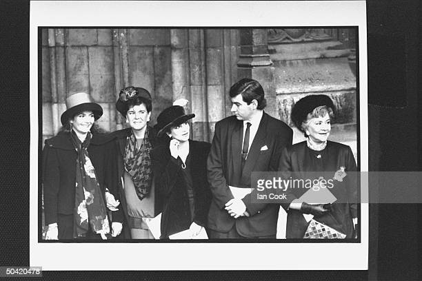 Actress Joan Plowright w her children Julie Kate Olivier daughterinlaw Shelley daughter Tamsin son Richard at her late husband's memorial service at...
