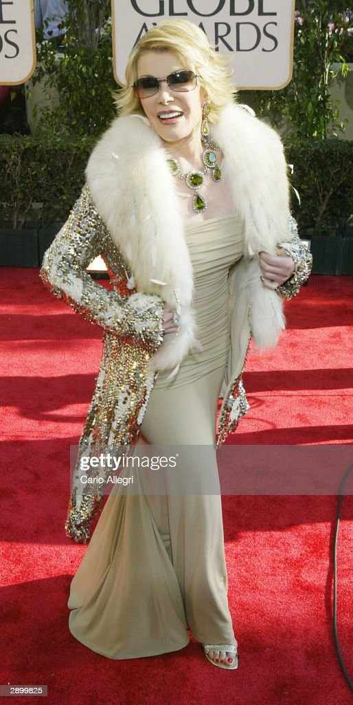 Actress <a gi-track='captionPersonalityLinkClicked' href=/galleries/search?phrase=Joan+Rivers&family=editorial&specificpeople=159403 ng-click='$event.stopPropagation()'>Joan Rivers</a> attends the 61st Annual Golden Globe Awards at the Beverly Hilton Hotel on January 25, 2004 in Beverly Hills, California.