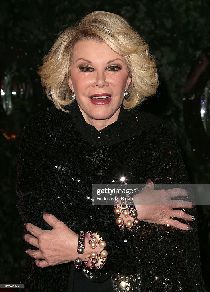 Actress <a gi-track='captionPersonalityLinkClicked' href=/galleries/search?phrase=Joan+Rivers&family=editorial&specificpeople=159403 ng-click='$event.stopPropagation()'>Joan Rivers</a> attends the QVC Red Carpet Style Event, at the Four Seasons Hotel Los Angeles on February 22, 2013 in Beverly Hills, California.