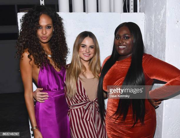 Actress Joan Smalls singer JoJo and actress Danielle Brooks attend Daniel E Straus CareOne Starry Night Masquerade For Puerto Ricoat Skylight...