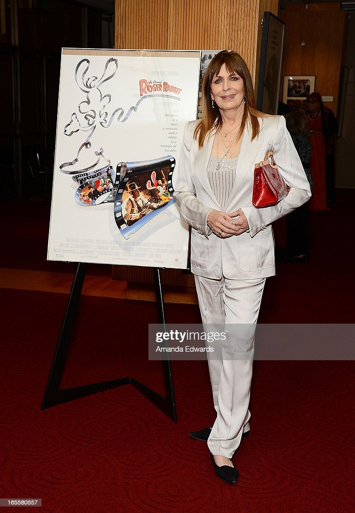 Actress <a gi-track='captionPersonalityLinkClicked' href=/galleries/search?phrase=Joanna+Cassidy&family=editorial&specificpeople=789152 ng-click='$event.stopPropagation()'>Joanna Cassidy</a> arrives at The Academy Of Motion Picture Arts And Sciences' 25th Anniversary Screening Of 'Who Framed Roger Rabbit' at AMPAS Samuel Goldwyn Theater on April 4, 2013 in Beverly Hills, California.