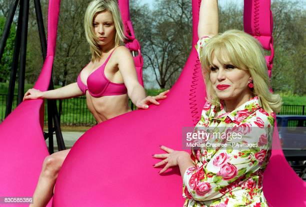 Actress Joanna Lumley and model Ami VeeversChorlton with a giant 148JJ bra in Hyde Park London during the launch of a new survey on bra fitting *...