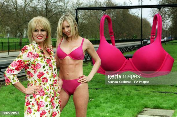 Actress Joanna Lumley and model Ami VeeversChorlton with a giant 148JJ bra in Hyde Park during the launch of a new survey on bra fitting More than...