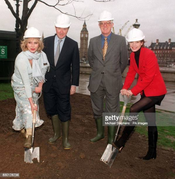 Actress Joanna Lumley Bob Ayling Michael Jolly ballerina Darcey Bussell turned the first turf to mark the start of constuction on the 450ft British...