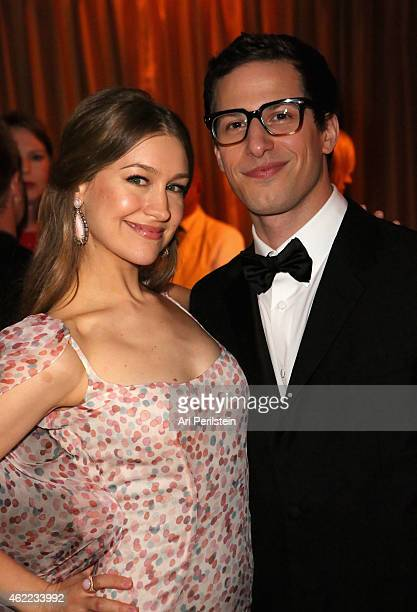 Actress Joanna Newsom and actor Andy Samberg attend The Weinstein Company Netflix's 2015 SAG After Party In Partnership With Laura Mercier at Sunset...