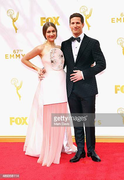 Actress Joanna Newsom and host Andy Samberg attend the 67th Annual Primetime Emmy Awards at Microsoft Theater on September 20 2015 in Los Angeles...