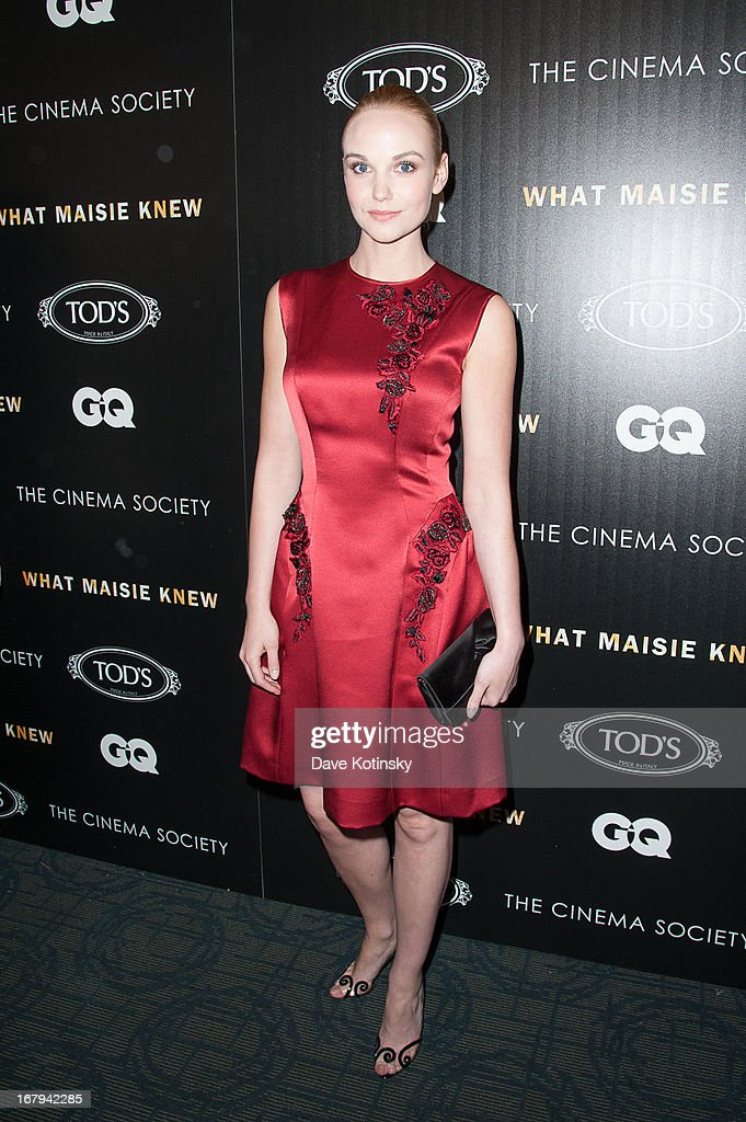 Actress Joanna Vanderham attends a screening hosted by The Cinema Society With Tod's & GQ of Millennium Entertainment's 'What Maisie Knew' presented by The Cinema Society at Sunshine Landmark on May 2, 2013 in New York City.