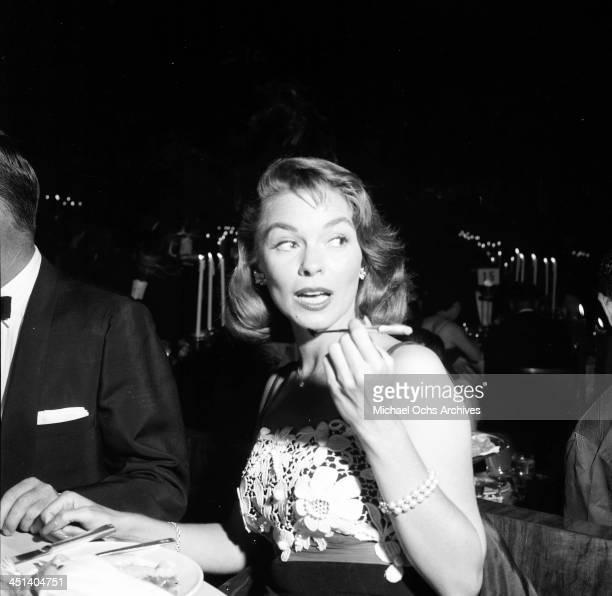 Actress Joanne Dru attends a Stanley Kramer dinner party in Los Angeles California