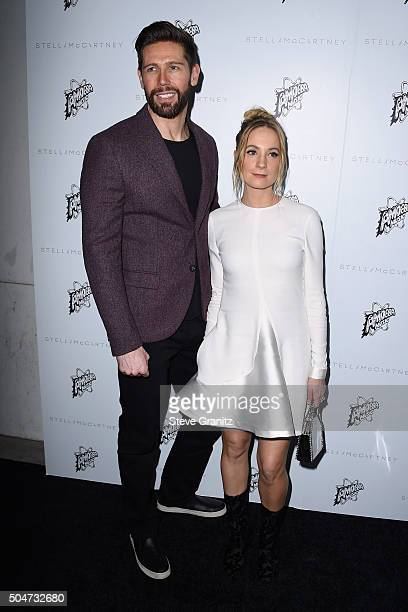 Actress Joanne Froggatt and James Cannon attend Stella McCartney Autumn 2016 Presentation at Amoeba Music on January 12 2016 in Los Angeles California