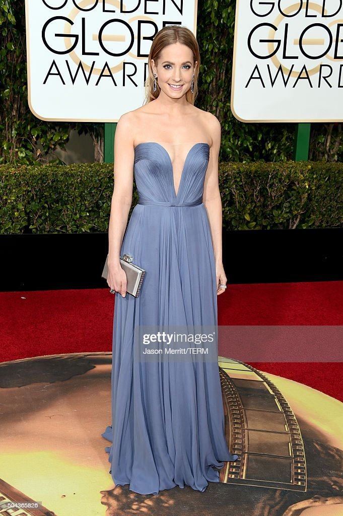 Actress <a gi-track='captionPersonalityLinkClicked' href=/galleries/search?phrase=Joanne+Froggatt&family=editorial&specificpeople=2364245 ng-click='$event.stopPropagation()'>Joanne Froggatt</a> attends the 73rd Annual Golden Globe Awards held at the Beverly Hilton Hotel on January 10, 2016 in Beverly Hills, California.