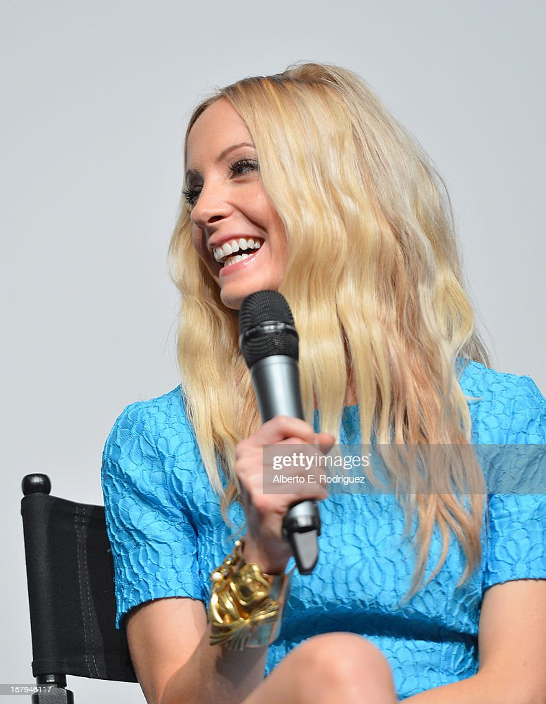 Actress Joanne Froggatt laughs onstage during the Q&A session as part of The Hollywood Reporter screening of PBS Masterpiece's 'Downton Abbey' Season 3 on December 7, 2012 in West Hollywood, California.