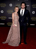 Actress Joanne Tucker and actor Adam Driver arrive at the premiere of Walt Disney Pictures' and Lucasfilm's 'Star Wars The Force Awakens' at the...