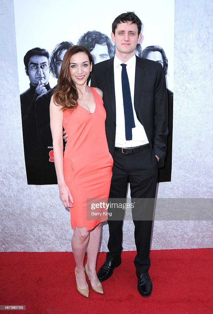Actress Jocelyn DeBoer (L) and actor <a gi-track='captionPersonalityLinkClicked' href=/galleries/search?phrase=Zach+Woods&family=editorial&specificpeople=5831373 ng-click='$event.stopPropagation()'>Zach Woods</a> arrive at the premiere of 'Silicon Valley' on April 3, 2014 at Paramount Studios in Hollywood, California.