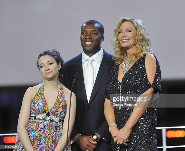 Actress Jodelle Ferland actor Roger Cross and actress/model Shannon Tweed attend the 31st Annual Genie Awards Gala at the National Arts Centre on...