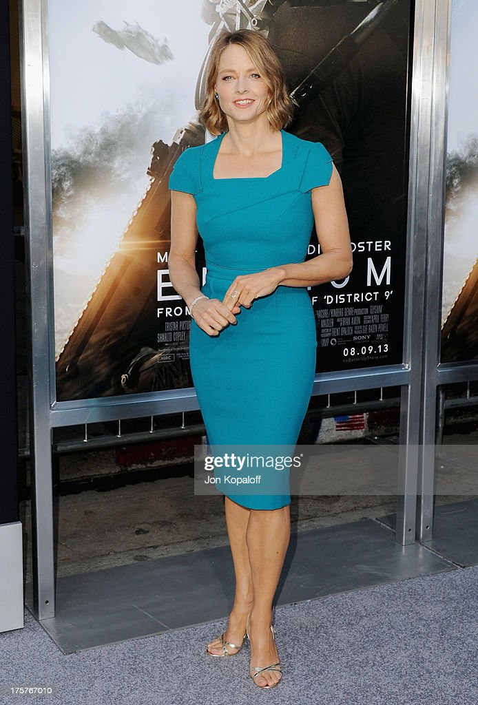 Actress Jodi Foster arrives at the Los Angeles Premiere 'Elysium' at Regency Village Theatre on August 7, 2013 in Westwood, California.