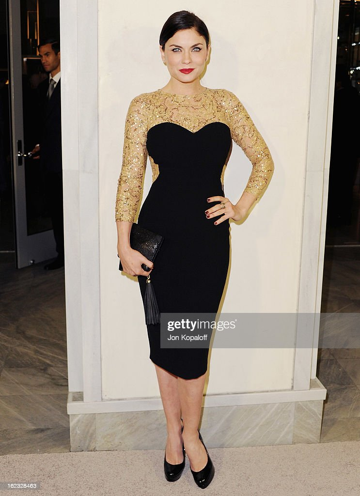 Actress Jodi Lyn O'Keefe arrives at Tom Ford Cocktails In Support Of Project Angel Food Media at TOM FORD on February 21, 2013 in Beverly Hills, California.