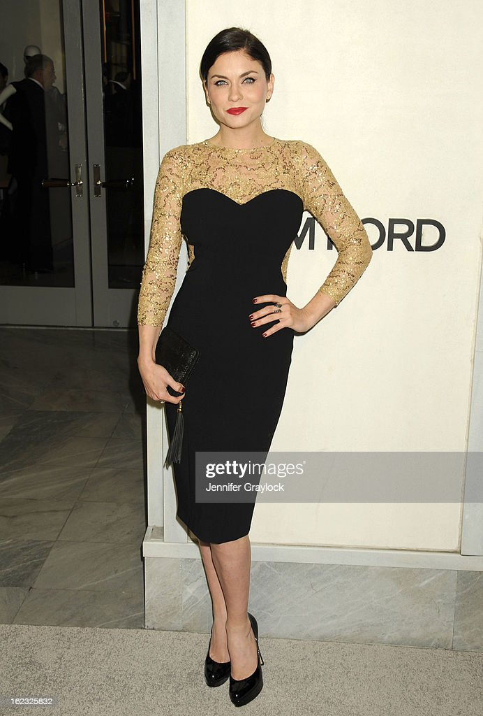 Actress Jodi Lyn O'Keefe attends the Tom Ford cocktail party in support of Project Angel Food Media held at TOM FORD boutique on February 21, 2013 in Beverly Hills, California.